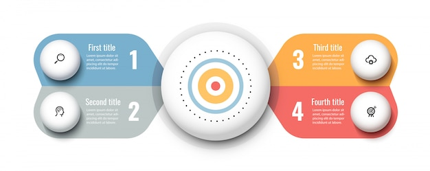 Circular infographic design template with icons and 4 options or steps. business concept.