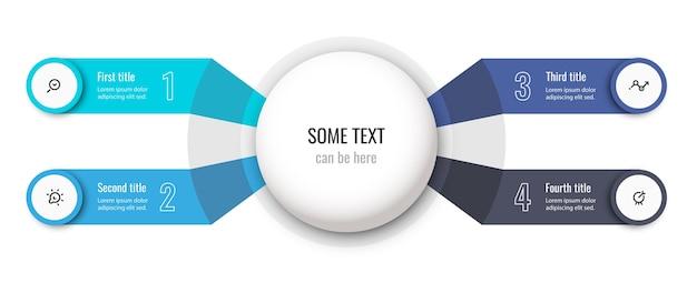 アイコンと4つのオプションまたはステップを備えた円形のインフォグラフィックデザインテンプレート。ビジネスコンセプト。