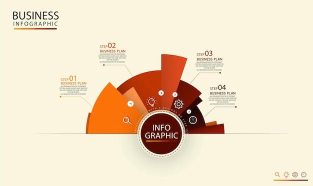 ビジネスアイデアのための4つの選択肢またはステップアイコンのインフォグラフィックと円形のインフォグラフィックラベルテンプレート