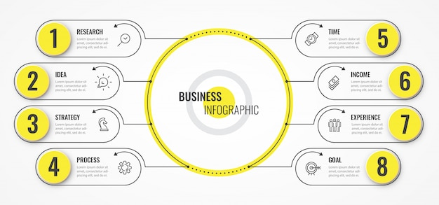 Circular infographic thin line design template with arrows and 8 options or steps.