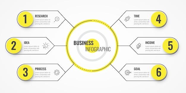 円形のインフォグラフィック細い線のデザインテンプレート