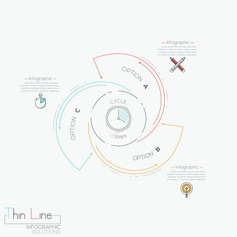 Circular infographic  with 3 spiral lettered elements
