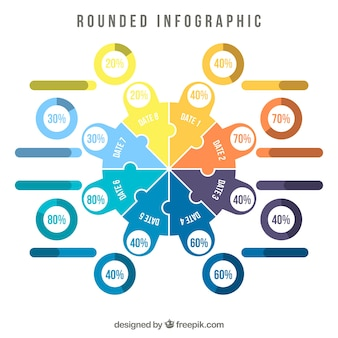 Циркулярная инфографика с различными цветами