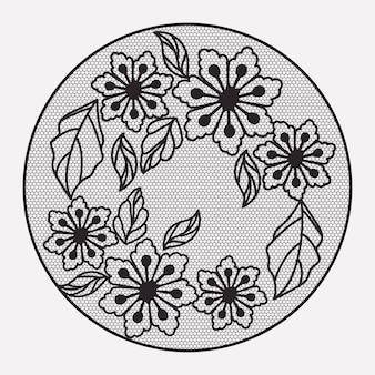 モノクロのシルエットで華やかな円形レースの花