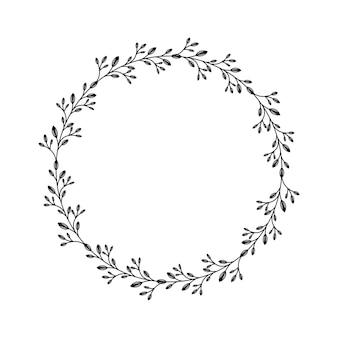 分離された円形の月桂樹の花輪フレーム