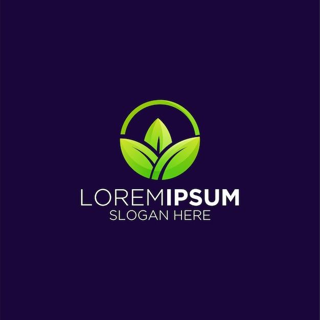 Circular leaf logo gradient