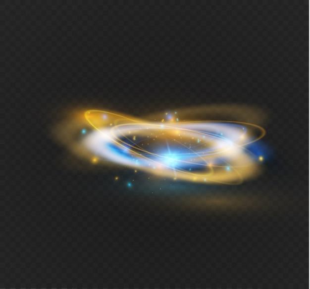원형 렌즈 플레어 투명 조명 효과. 추상 크로스 타원입니다. 회전 글로우 라인. 전력 에너지. 빛나는 반지 추적 배경.