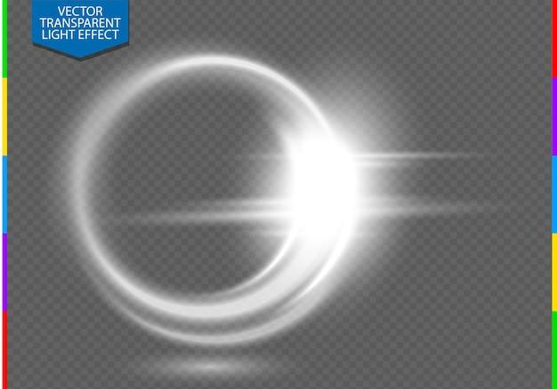 円形レンズフレアの透明光効果。