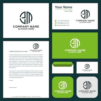 Circular letter em logo and business card