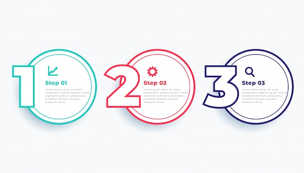 Circular line three steps modern infographics template