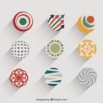 Circular logos in abstract style