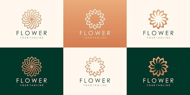 원형 럭셔리 플라워 로고 타입. 선형 보편적 인 잎 꽃 로고