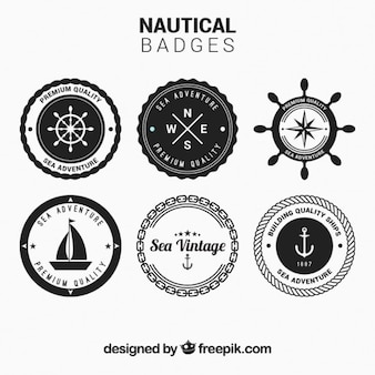 Circular nautical badges set in black and white