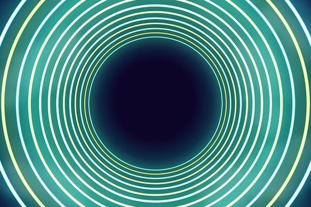 Sfondo di luci al neon circolari