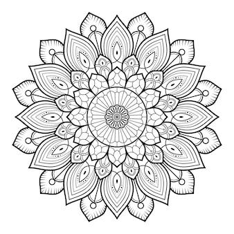 本のページを着色するための円形パターン黒と白の花装飾マンダラアウトライン