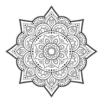 Circular pattern in form of mandala  . decorative ornament in ethnic oriental style. outline doodle hand draw   illustration.