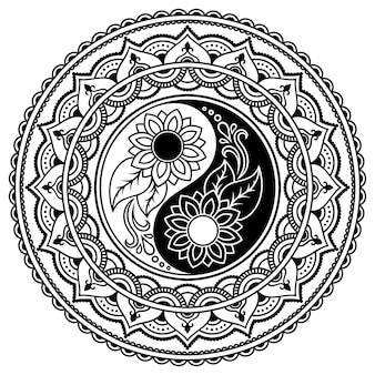 Circular pattern in form of mandala for henna, mehndi, tattoo, decoration. decorative ornament in ethnic oriental style with yin-yang hand drawn symbol. outline doodle  illustration.
