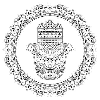 Circular pattern in form of mandala for henna, mehndi, tattoo, decoration. decorative ornament in oriental style.