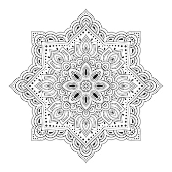 Circular pattern in form of mandala for henna, mehndi, tattoo, decoration.