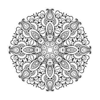 Circular pattern in form of mandala with flower. decorative ornament in ethnic oriental style. outline doodle hand draw   illustration.