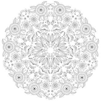 Circular pattern in form of mandala with flower  . decorative ornament in ethnic oriental style. outline doodle hand draw   illustration.