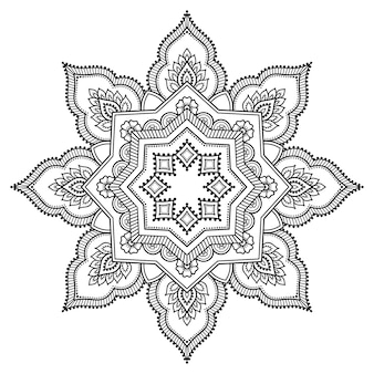 Circular pattern in form of mandala with flower. decorative ornament in ethnic oriental style. outline doodle hand draw.