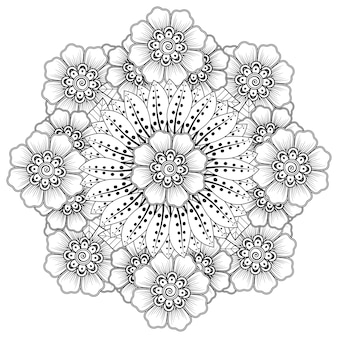 Circular pattern in the form of mandala with flower   in ethnic oriental style coloring book page