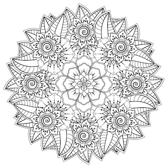 Circular pattern in the form of mandala with flower for henna, mehndi, tattoo, decoration. decorative ornament in ethnic oriental style. coloring book page.