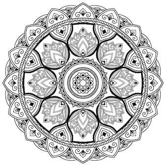 Circular pattern in form of mandala with flower for henna, mehndi, tattoo, decoration. decorative ornament in ethnic oriental style. outline doodle hand draw   illustration.