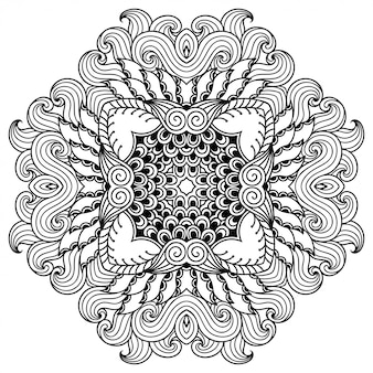 Circular pattern in form of mandala with flower for henna, mehndi, tattoo, decoration. decorative ornament in ethnic oriental style. outline doodle hand draw.