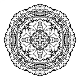 Circular pattern in form of mandala with flower for henna, mehndi, tattoo, decoration. decorative ornament in ethnic oriental style. outline doodle