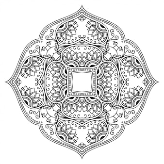 Circular pattern in form of mandala with flower for henna, mehndi, tattoo, decoration. decorative ornament in ethnic oriental style.