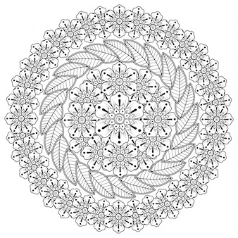Circular pattern in form of mandala with flower for henna, mehndi, tattoo, decoration. mehndi flower decoration in ethnic oriental, indian style.