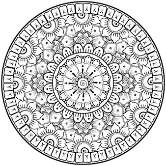 Circular pattern in the form of mandala with flower for henna mehndi tattoo decoration