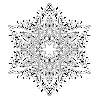 Circular pattern in form of mandala with flower