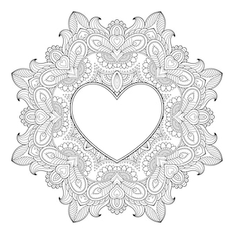 Circular pattern in form of mandala with frame in shape of heart. decorative ornament in ethnic oriental mehndi style. outline doodle antistress coloring book page.