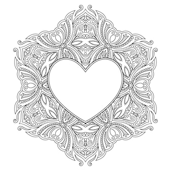 Circular pattern in form of mandala with frame in shape of heart. decorative ornament in ethnic oriental mehndi style.