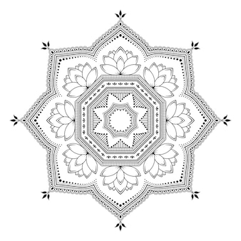 Circular pattern in form of mandala with lotus flower