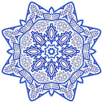 マンダラの形の円形パターン。エスニックオリエンタルスタイルの装飾的な飾り。ブルースノーフレークデザイン