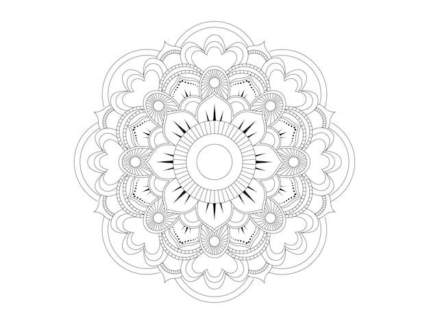 マンダラの形の円形パターン。エスニックオリエンタルスタイルの装飾的な飾り。本ページを着色。