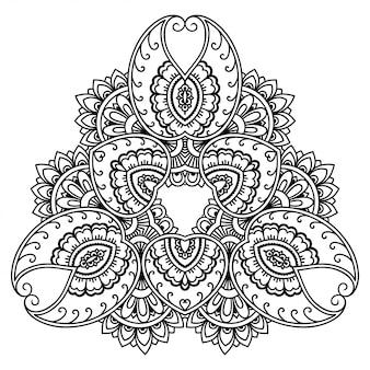 マンダラの形の円形パターン。エスニックオリエンタルスタイルの装飾的な飾り。概要落書き手描きイラスト。本ページを着色。