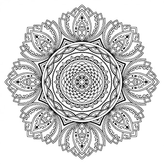 Круговой узор в виде мандалы. декоративный орнамент в этническом восточном стиле. наброски каракули рука рисовать иллюстрации. раскраска страницы книги.