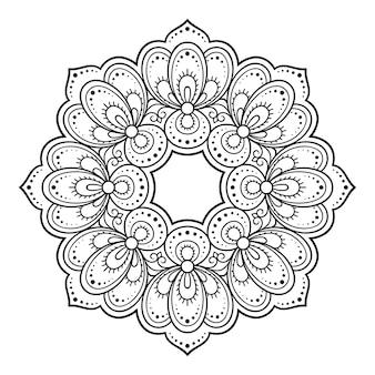 만다라 형태의 원형 패턴. 민족 오리엔탈 스타일의 장식 장식. 개요 낙서 손으로 그리는 그림.