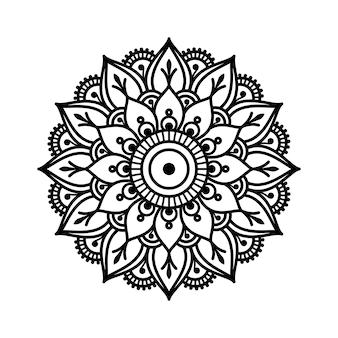 マンダラの形の円形パターン。エスニックオリエンタルスタイルの装飾飾り