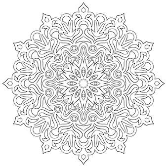 ヘナのための曼荼羅の形の円形パターン Premiumベクター