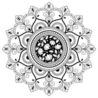 花と曼荼羅の形の円形パターン。エスニックオリエンタルスタイルの装飾飾り。塗り絵のページ。