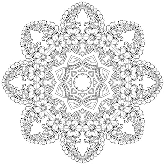 Круговой узор в виде мандалы с цветком. декоративный орнамент в этническом восточном стиле. наброски каракули рука рисовать иллюстрации.