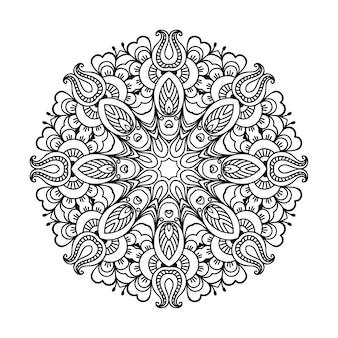 꽃과 만다라의 형태로 원형 패턴입니다. 민족 오리엔탈 스타일의 장식 장식. 개요 낙서 손으로 그리는 그림.