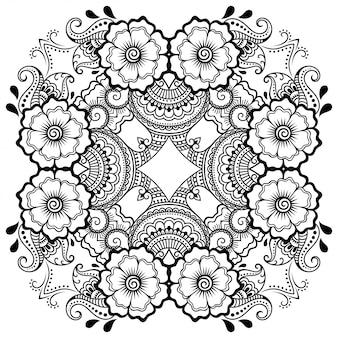 ヘナ、一時的な刺青、タトゥー、装飾用の花とマンダラの形の円形パターン。エスニックオリエンタルスタイルの装飾的な飾り。落書き手描きのベクトル図の概要を説明します。