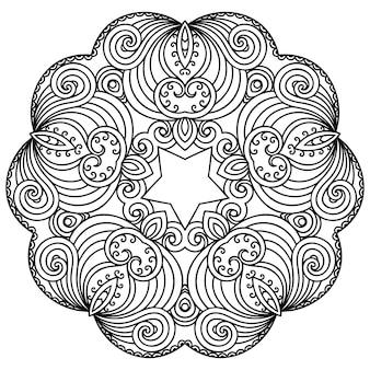 헤나, 멘디, 문신, 장식용 꽃이 있는 만다라 형태의 원형 패턴입니다. 민족 동양 스타일의 장식 장식입니다. 개요 낙서 손으로 그리는 벡터 일러스트 레이 션.